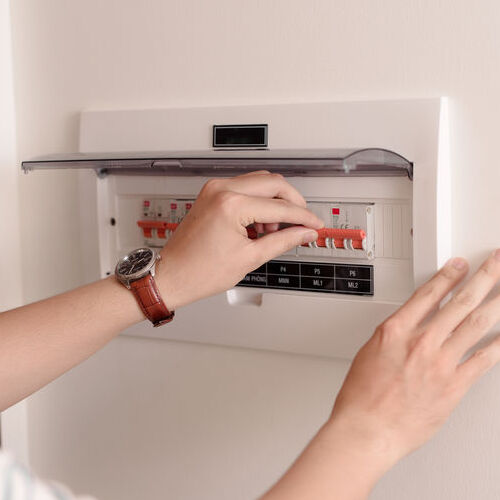 hand switching panel on circuit board