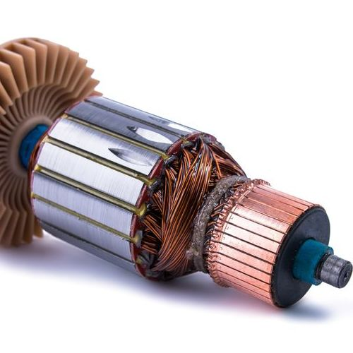 close up of electric motor with copper parts and coils